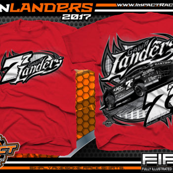 Gavin Landers Batesville Arkanasas Dirt Late Model Dirt Track Racing Shirts Red