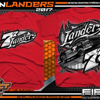 Gavin Landers Batesville Arkanasas Dirt Late Model Dirt Track Racing Shirts Red