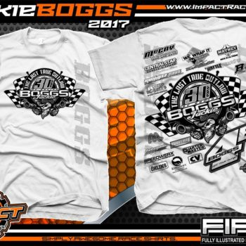 Jackie Boggs 30 years of Racing Dirt Late Model Racing Shirts White
