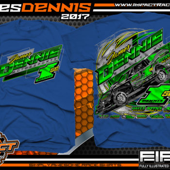 James Dennis AMRA Dirt Track Modified Race Shirt Royal
