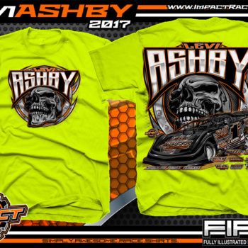 Levi Ashby Tennessee Dirt Late Model Racing T-Shirt Safety Green
