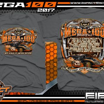 Mega 100 Modified Event T-Shirt Dirt Track Modified Racing Shirts Charcoal