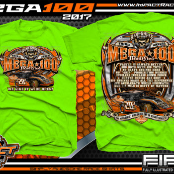 Mega 100 Modified Event T-Shirt Dirt Track Modified Racing Shirts Neon Green