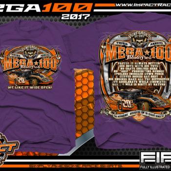 Mega 100 Modified Event T-Shirt Dirt Track Modified Racing Shirts Purple