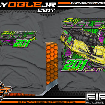Billy Ogle Lucas Oil World Of Outlaws Dirt Late Model Custom Racing Shirts Charcoal