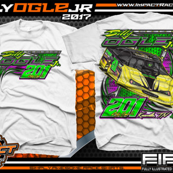 Billy Ogle Lucas Oil World Of Outlaws Dirt Late Model Custom Racing Shirts White