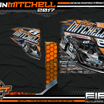 Dustin Mitchell North Carolina Dirt Late Model Custom Race Shirts Black - Copy