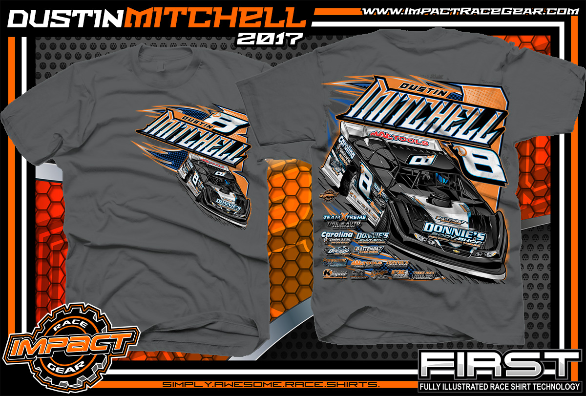 e9902fe55 Dustin Mitchell North Carolina Dirt Late Model Custom Race Shirts Charcoal  - Copy