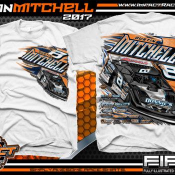 Dustin Mitchell North Carolina Dirt Late Model Custom Race Shirts White - Copy