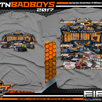 East Tennessee Bad Boys Cory Hedgecock Kyle Courtney Drew Kennedy Greg Martin Jensen Ford Jesse Lowe Matt Henderson Rusty Ballenger Dirt Late Model Dirt Track Racing Shirt Medium Grey