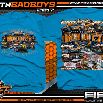 East Tennessee Bad Boys Cory Hedgecock Kyle Courtney Drew Kennedy Greg Martin Jensen Ford Jesse Lowe Matt Henderson Rusty Ballenger Dirt Late Model Dirt Track Racing Shirt Neon Blue