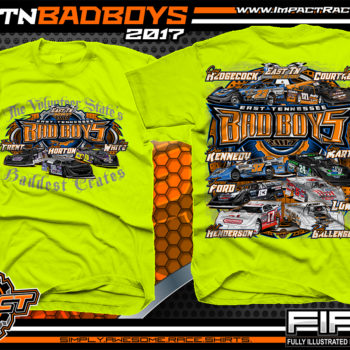 East Tennessee Bad Boys Cory Hedgecock Kyle Courtney Drew Kennedy Greg Martin Jensen Ford Jesse Lowe Matt Henderson Rusty Ballenger Dirt Late Model Dirt Track Racing Shirt Neon Yellow