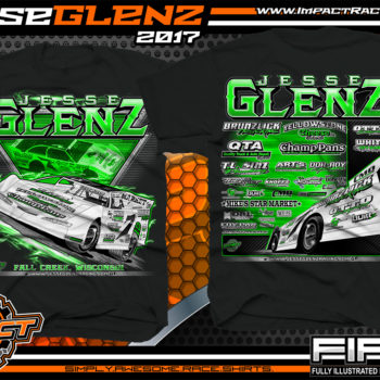 Jesse Glenz WISSOTA Dirt Late Model Dirt Track Racing Shirt Black