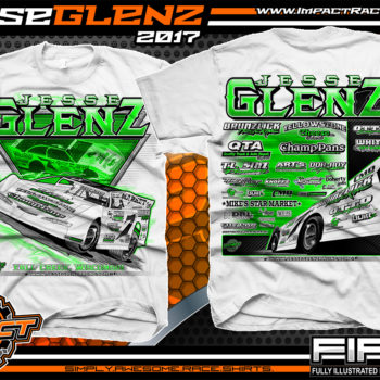 Jesse Glenz WISSOTA Dirt Late Model Dirt Track Racing Shirt White