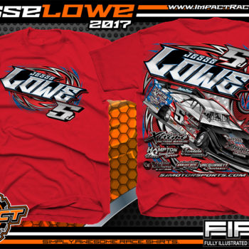 Jesse Lowe Tenneessee Dirt Late Model Custom Race Shirts Red - Copy