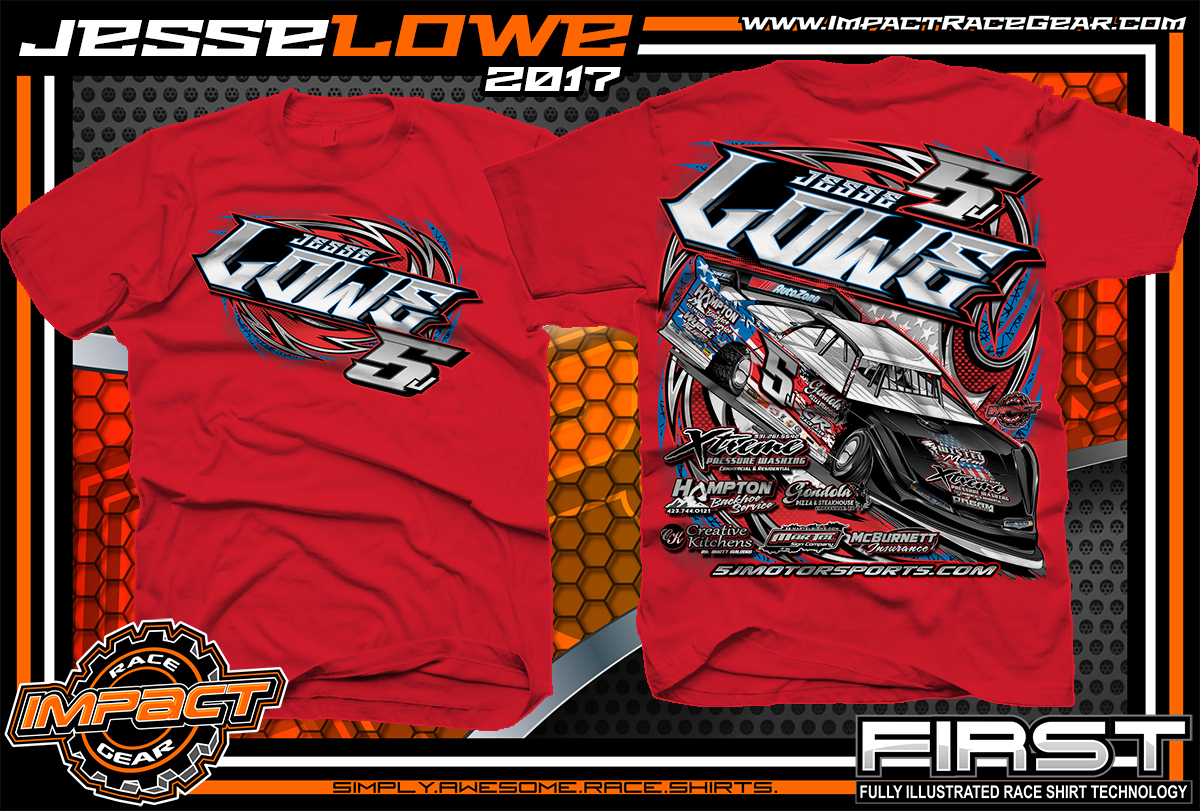 0390e571 Jesse Lowe Tenneessee Dirt Late Model Custom Race Shirts Red - Copy ...