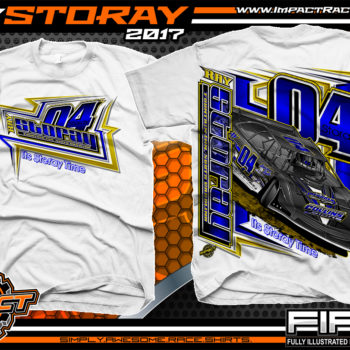 Ray Storay Lucas Oil Dirt Late Model Dirt Track Racing Shirts White