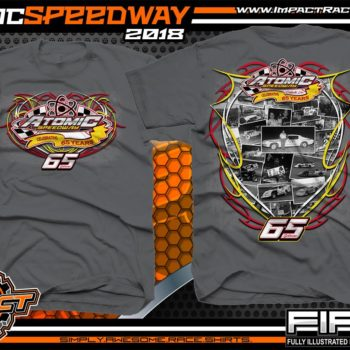 Atomic Speedway Dirt Track Winged Sprint Car Track Shirts Charcoal