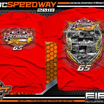 Atomic Speedway Dirt Track Winged Sprint Car Track Shirts Red
