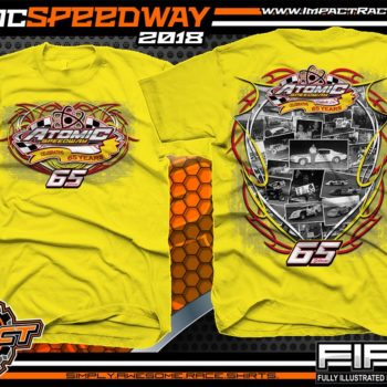 Atomic Speedway Dirt Track Winged Sprint Car Track Shirts Yellow