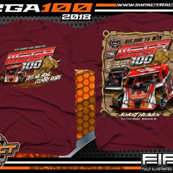 Mega 100 Dirt Track Racing Tyler County Speedway Event Shirt West Virgina Maroon