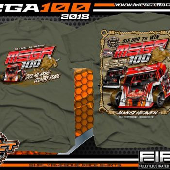 Mega 100 Dirt Track Racing Tyler County Speedway Event Shirt West Virgina Military Green