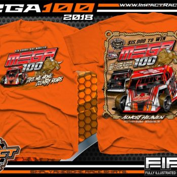 Mega 100 Dirt Track Racing Tyler County Speedway Event Shirt West Virgina Safety Orange