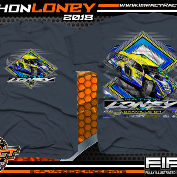 Nathon Loney UMP Modified Dirt Racing T Shirts Blue Dusk
