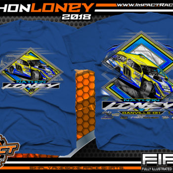 Nathon Loney UMP Modified Dirt Racing T Shirts Royal