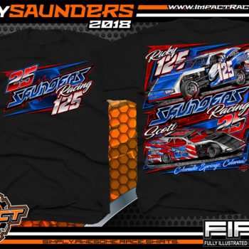 Ricky Saunders Dirt Track Modified Race Car Shirts Black