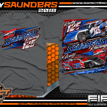 Ricky Saunders Dirt Track Modified Race Car Shirts Gray