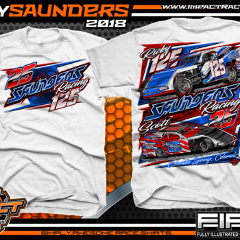 Ricky Saunders Dirt Track Modified Race Car Shirts White