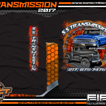 SS Transmission Custom Street Rod Shirt Black Car Club Shirts