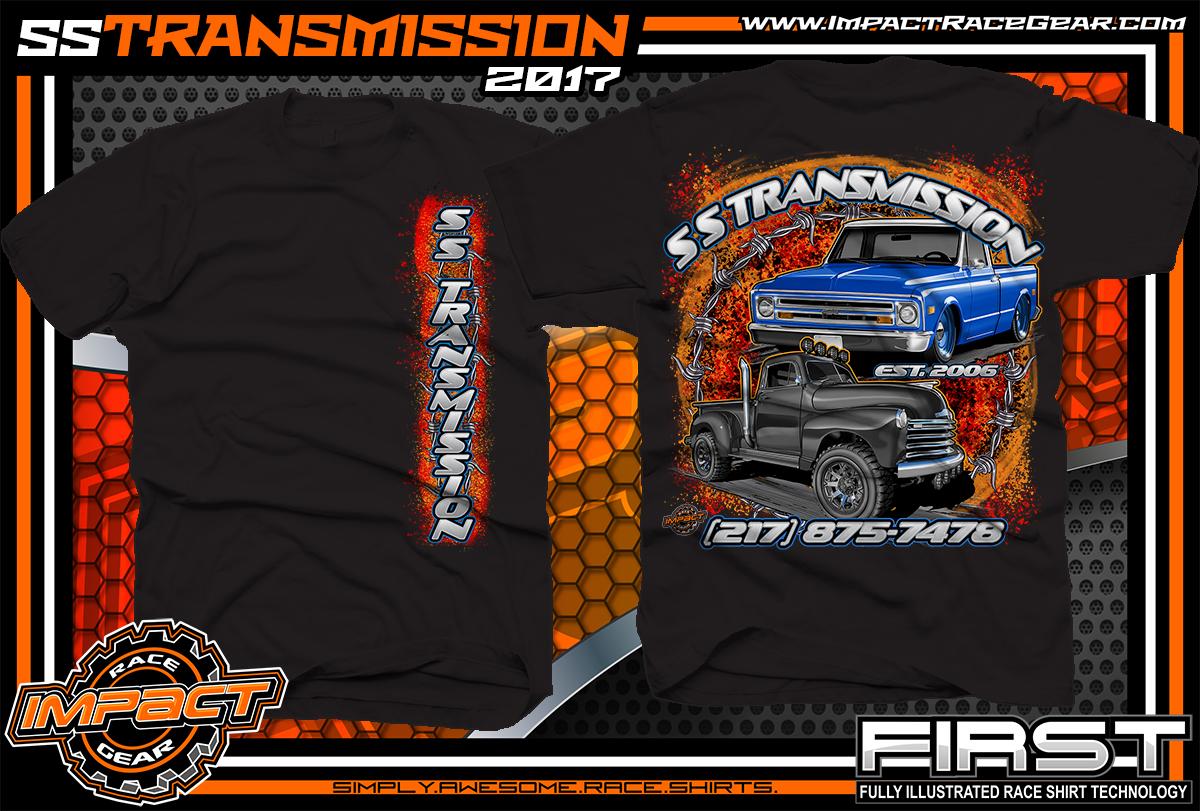 Ss transmission custom street rod shirt black car club for Custom car club shirts