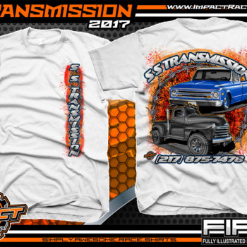 SS Transmission Custom Street Rod Shirt White Car Club Shirts