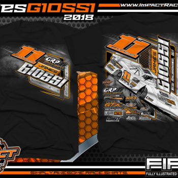James Giossi World Of OutLaws WoO Dirt Late Model Dirt Track Racing Shirts Black