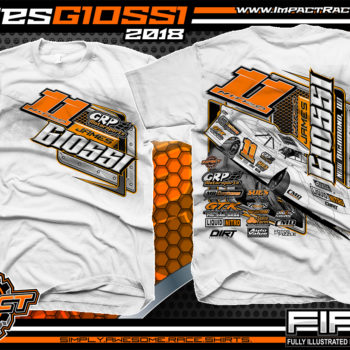 James Giossi World Of OutLaws WoO Dirt Late Model Dirt Track Racing Shirts White