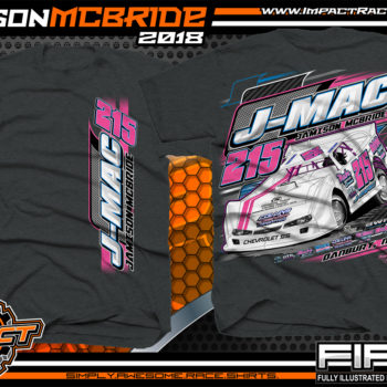 Jamison J-Mac McBride North Carolina Dirt Late Model Racing Shirts Dark Heather