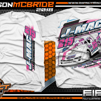 Jamison J-Mac McBride North Carolina Dirt Late Model Racing Shirts White