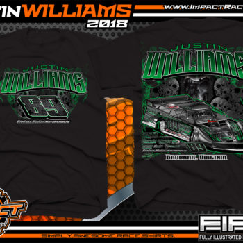 Justin Williams Skulls Dirt Track Racing T Shirt World of Outlaws Late Model Shirts WoO Black