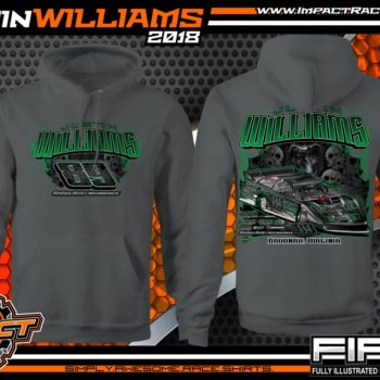 Justin Williams Skulls Dirt Track Racing T Shirt World of Outlaws Late Model Shirts WoO Charcoal Hooded Sweatshirt
