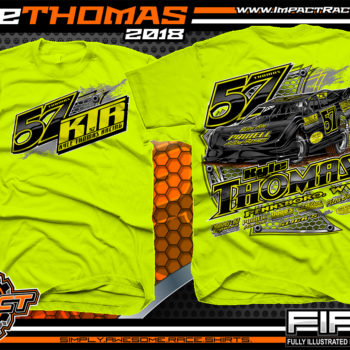 Kyle Thomas Lucas Oil Dirt Late Model Shirts World of Outlaws Dirt Track Racing Shirts Safety Yellow
