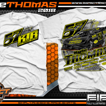 Kyle Thomas Lucas Oil Dirt Late Model Shirts World of Outlaws Dirt Track Racing Shirts White
