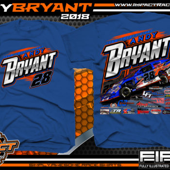Andy Bryant USMTS Modified Dirt Racing T-SHirts Royal