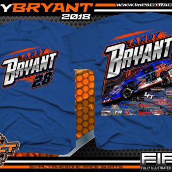 Andy Bryant USMTS Modified Dirt Racing T-SHirts Royal