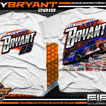 Andy Bryant USMTS Modified Dirt Racing T-SHirts White