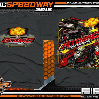 Atomic Speedway Lucas Oil World of Outlaws All Star Sprints Dirt Late Model AMRA Modified Dirt Track Racing T-Shirts Black Heather