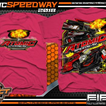 Atomic Speedway Lucas Oil World of Outlaws All Star Sprints Dirt Late Model AMRA Modified Dirt Track Racing T-Shirts Heliconia