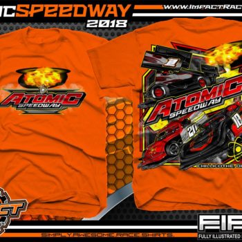 Atomic Speedway Lucas Oil World of Outlaws All Star Sprints Dirt Late Model AMRA Modified Dirt Track Racing T-Shirts Orange
