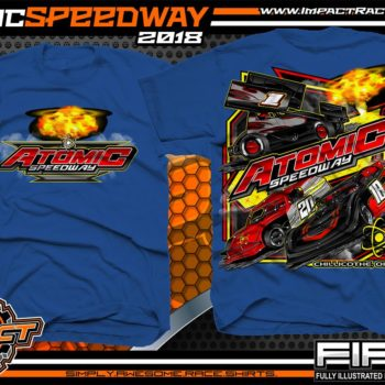 Atomic Speedway Lucas Oil World of Outlaws All Star Sprints Dirt Late Model AMRA Modified Dirt Track Racing T-Shirts Royal